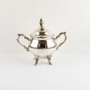 Old English Reproduction Silver Plated Sugar Bowl